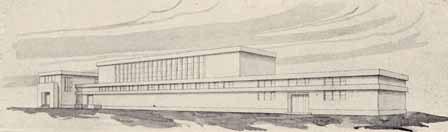 Původní návrh sokolovny a stadionu